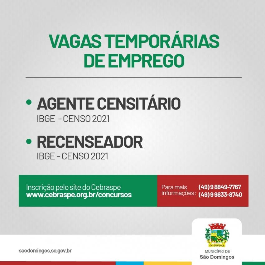 Vagas abertas em São Domingos para trabalhar no Censo IBGE
