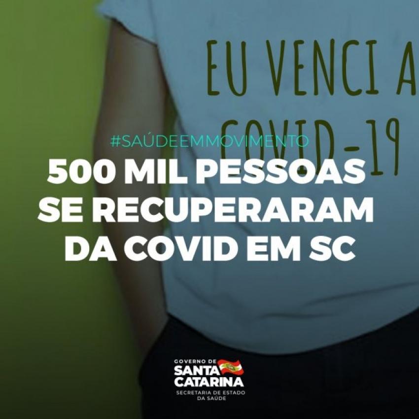Coronavírus em SC: Estado ultrapassa marca de meio milhão de pacientes recuperados da Covid-19