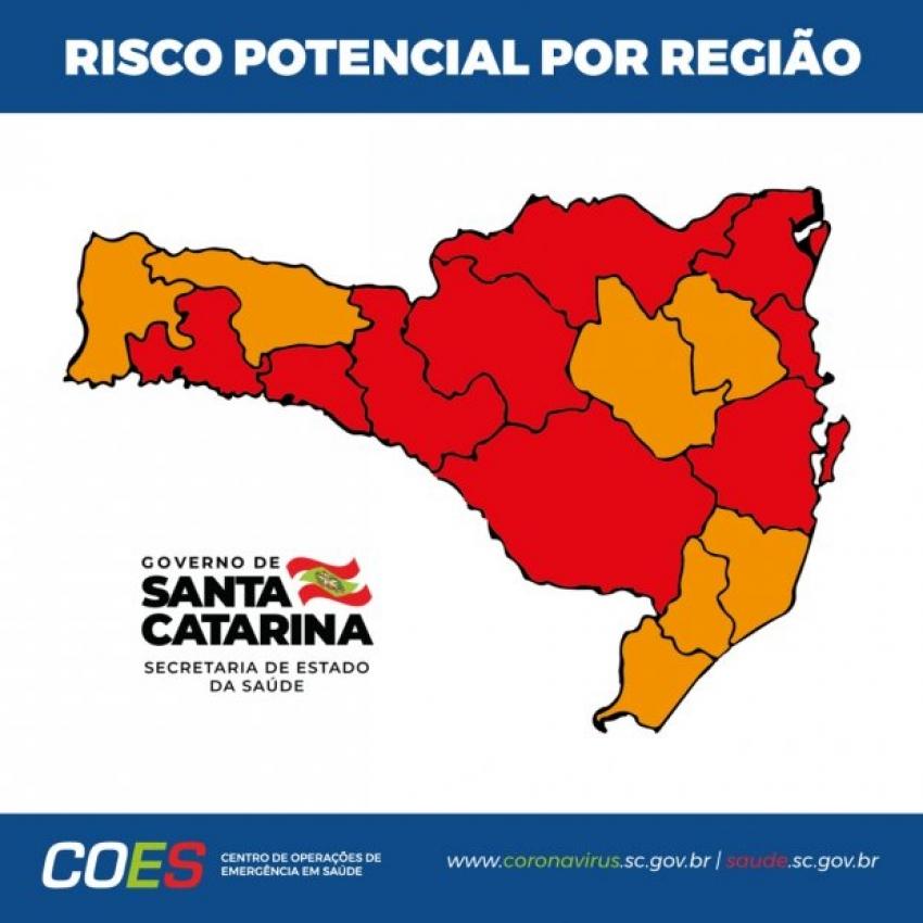 Coronavírus em SC: Matriz de Risco aponta nove regiões em estado gravíssimo e sete em nível grave
