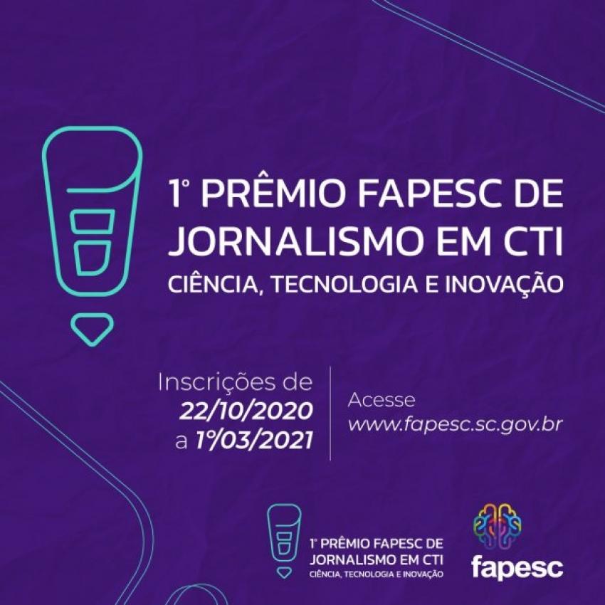 Inscrições para 1º Prêmio Fapesc de Jornalismo em Ciência, Tecnologia e Inovação vão até 1º de março