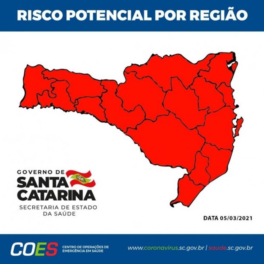 Estado tem todas as regiões classificadas no risco gravíssimo pela segunda semana seguida