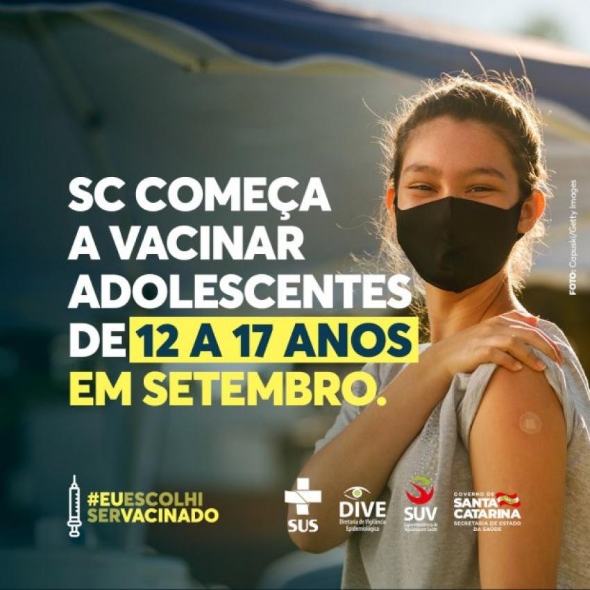 Adolescentes serão vacinados contra a Covid-19 a partir do dia 1º de setembro