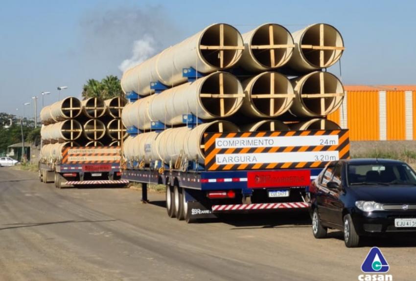 Tubos para instalação do projeto rio Chapecozinho começam a chegar em Xanxerê