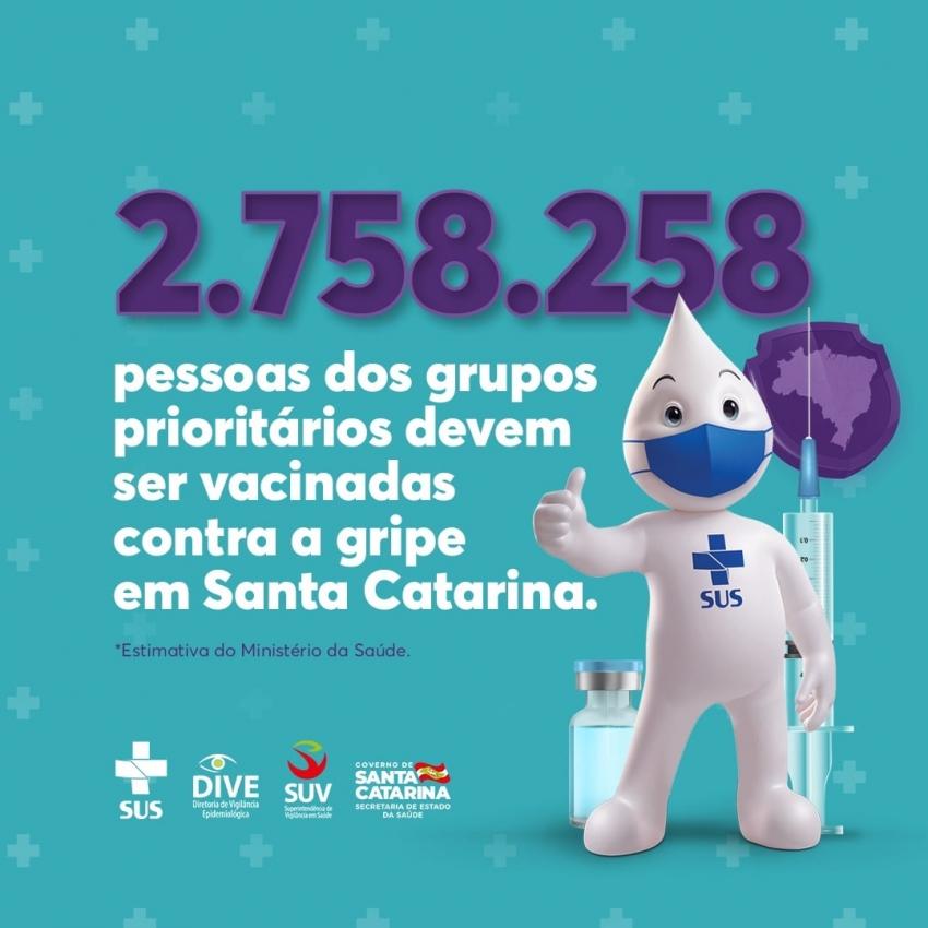 Santa Catarina vacinou mais de 80 mil pessoas contra a gripe em uma semana