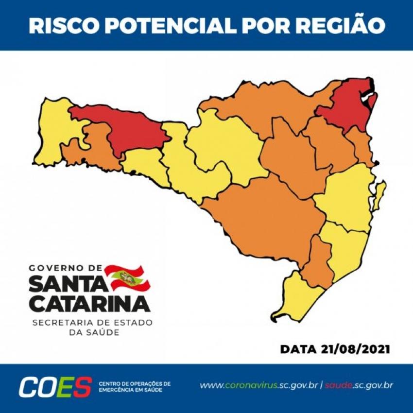 Estado tem sete regiões em risco alto, sete em grave e duas em gravíssimo