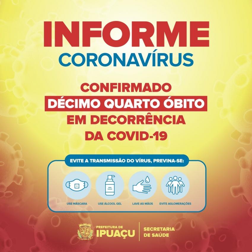 Mulher de 32 anos é 14ª vítima da Covid-19 em Ipuaçu